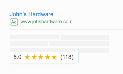 Google seller rating example