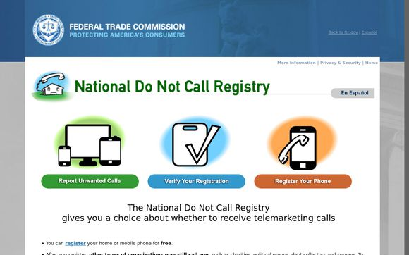 National Do Not Call Registery